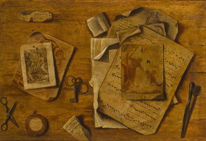 A_trompe_l'oeil_with_musical_score_Italian_School_circa_1800